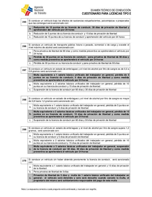 8 Banco De Preguntas Para Licencias Tipo E V5