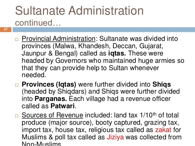 administration of delhi sultanate