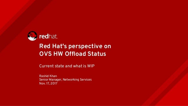 Red Hat's perspective on OVS HW Offload Status Current state and what is WIP Rashid Khan Senior Manager, Networking Servic...