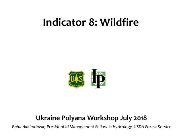 Indicator 8: Wildfire Ukraine Polyana Workshop July 2018 Raha Hakimdavar, Presidential Management Fellow in Hydrology, USD...