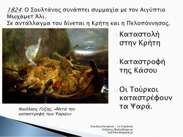 Νικόλαος Γύζης, «Μετά την  καταστροφή των Ψαρών»  Καταστολή  στην Κρήτη  Καταστροφή  της Κάσου  Οι Τούρκοι  καταστρέφουν  ...
