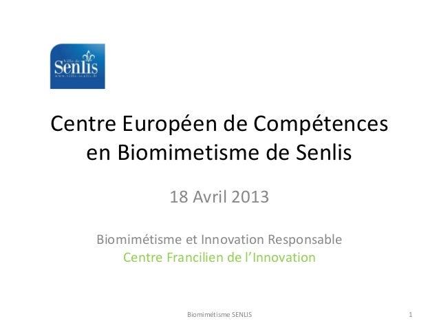 Centre Européen de Compétences en Biomimetisme de Senlis 18 Avril 2013 Biomimétisme et Innovation Responsable Centre Franc...