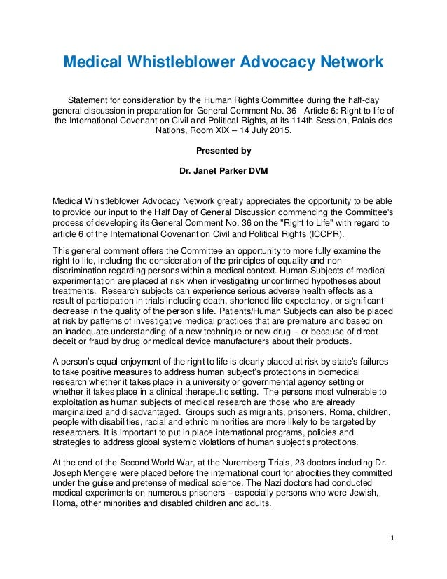 1 Medical Whistleblower Advocacy Network Statement for consideration by the Human Rights Committee during the half-day gen...