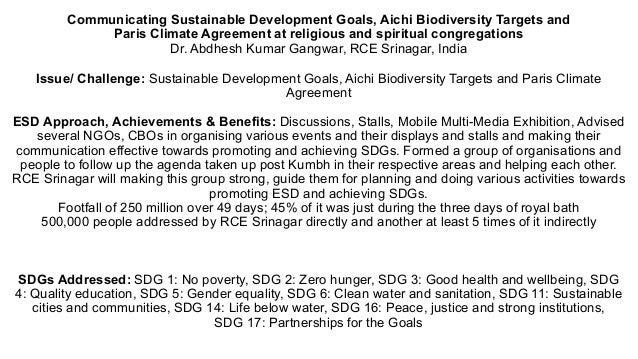 Communicating Sustainable Development Goals, Aichi Biodiversity Targets and Paris Climate Agreement at religious and spiri...