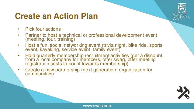 WWW.SWCS.ORG Create an Action Plan • Pick four actions • Partner to host a technical or professional development event (me...