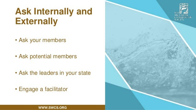 WWW.SWCS.ORG Ask Internally and Externally • Ask your members • Ask potential members • Ask the leaders in your state • En...