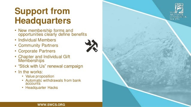 WWW.SWCS.ORG • New membership forms and opportunities clearly define benefits • Individual Members • Community Partners • ...