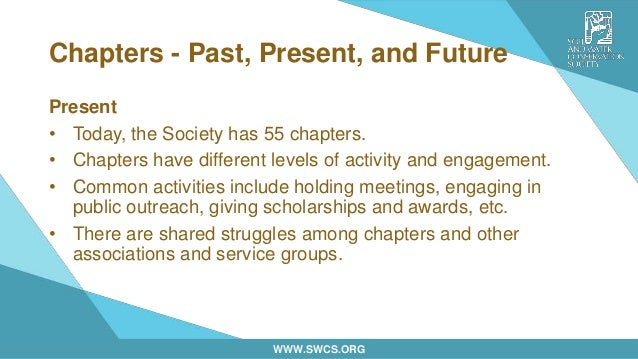 WWW.SWCS.ORG Chapters - Past, Present, and Future Present • Today, the Society has 55 chapters. • Chapters have different ...