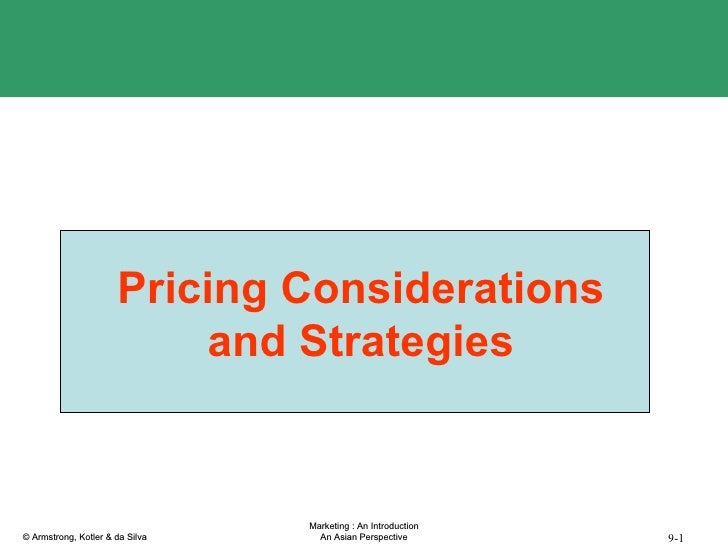 Pricing Considerations and Strategies