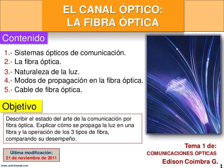 EL CANAL ÓPTICO:                              LA FIBRA ÓPTICAContenido  1.- Sistemas ópticos de comunicación.  2.- La fibr...