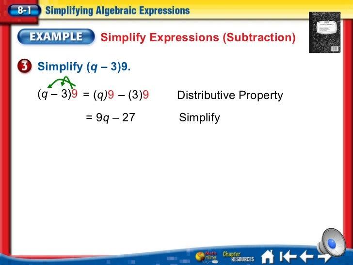 Math 7 - 8.1 Simplifying Algebraic Expressions