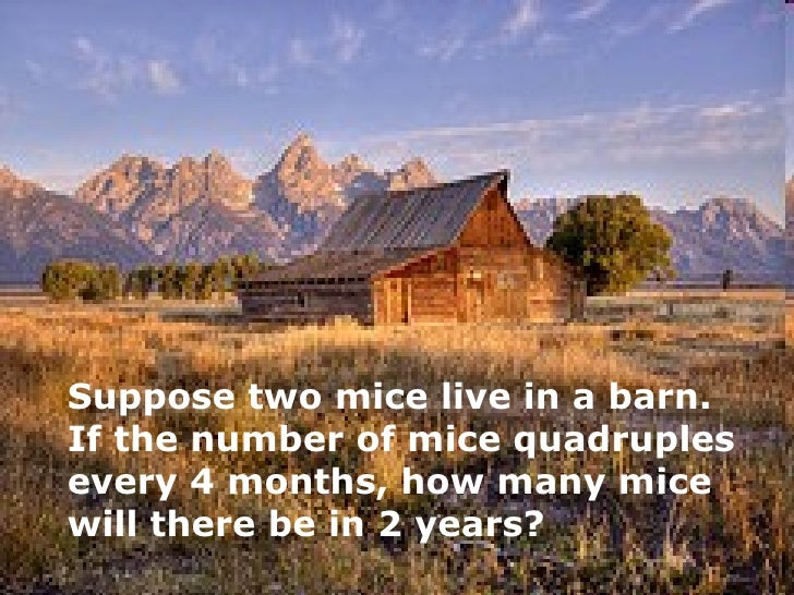 Suppose two mice live in a barn.  If the number of mice quadruples every 4 months, how many mice will there be in 2 years?
