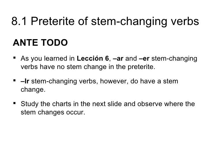 81 Preterite Of Stem Changing Verbs