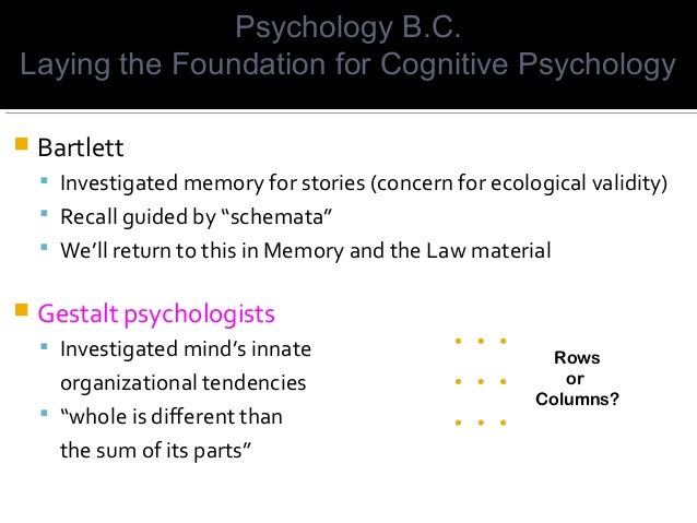 """ Bartlett  Investigated memory for stories (concern for ecological validity)  Recall guided by """"schemata""""  We'll retur..."""