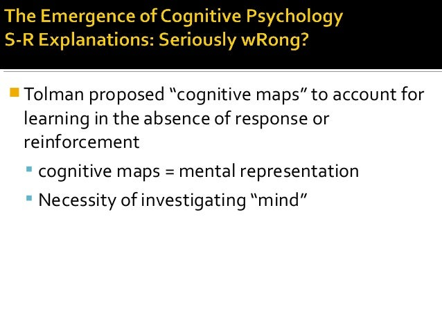""" Tolman proposed """"cognitive maps"""" to account for learning in the absence of response or reinforcement  cognitive maps = ..."""