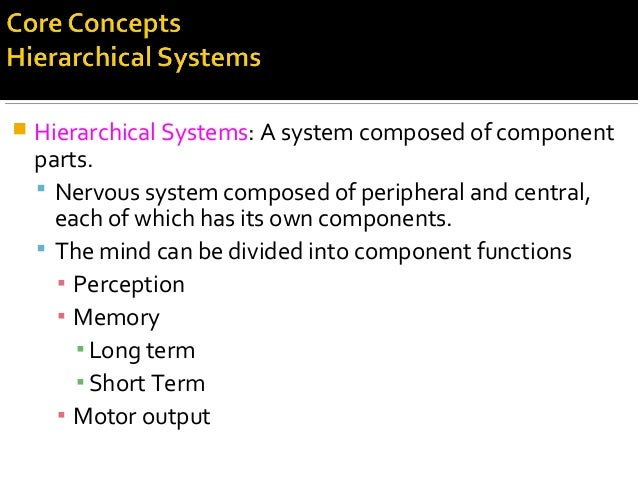  Hierarchical Systems: A system composed of component parts.  Nervous system composed of peripheral and central, each of...