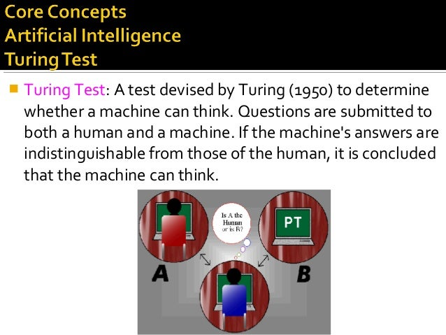  Turing Test: A test devised by Turing (1950) to determine whether a machine can think. Questions are submitted to both a...