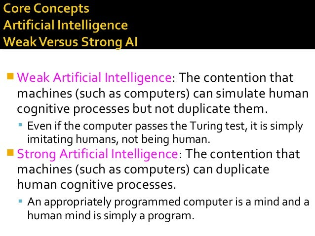  Weak Artificial Intelligence: The contention that machines (such as computers) can simulate human cognitive processes bu...