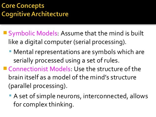  Symbolic Models: Assume that the mind is built like a digital computer (serial processing).  Mental representations are...