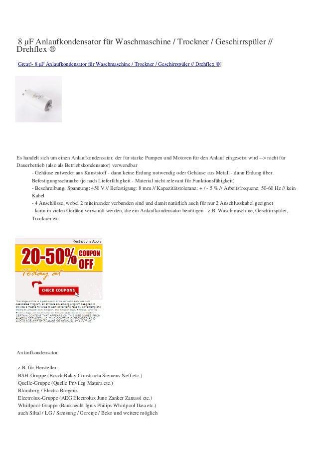 8 µF Anlaufkondensator für Waschmaschine / Trockner / Geschirrspüler //Drehflex ®Great!- 8 µF Anlaufkondensator für Waschm...
