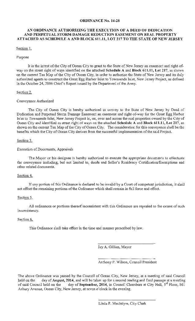 ORDINANCE No.  14-28  AN ORDINANCE AUTHORIZING THE EXECUTION OF A DEED OF DEDICATION AND PERPETUAL STORM DAMAGE REDUCTION ...