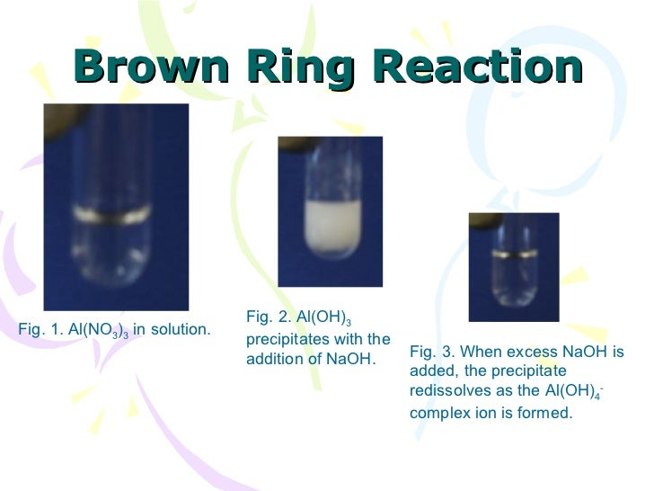 Brown Ring Reaction Fig. 3. When excess NaOH is added, the precipitate redissolves as the Al(OH) 4 -  complex ion is forme...