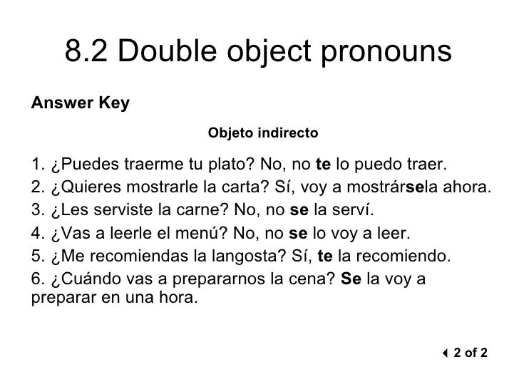 Double Object Pronouns Spanish Worksheet Answers ...