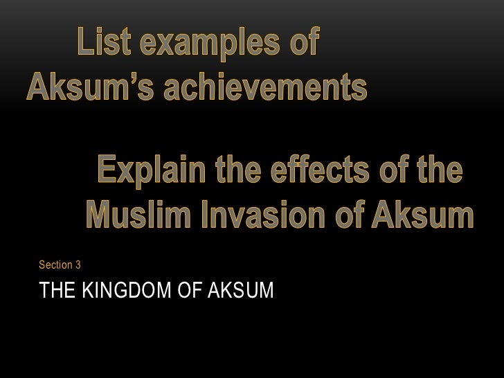 Section 3THE KINGDOM OF AKSUM