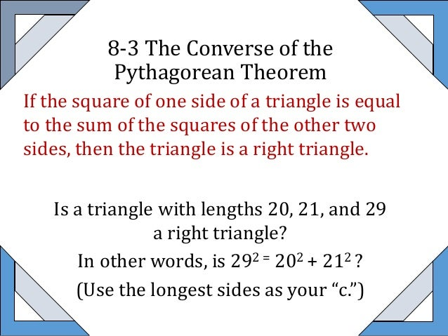 8 3 Converse of Pythagorean Theorem – Converse of Pythagorean Theorem Worksheet