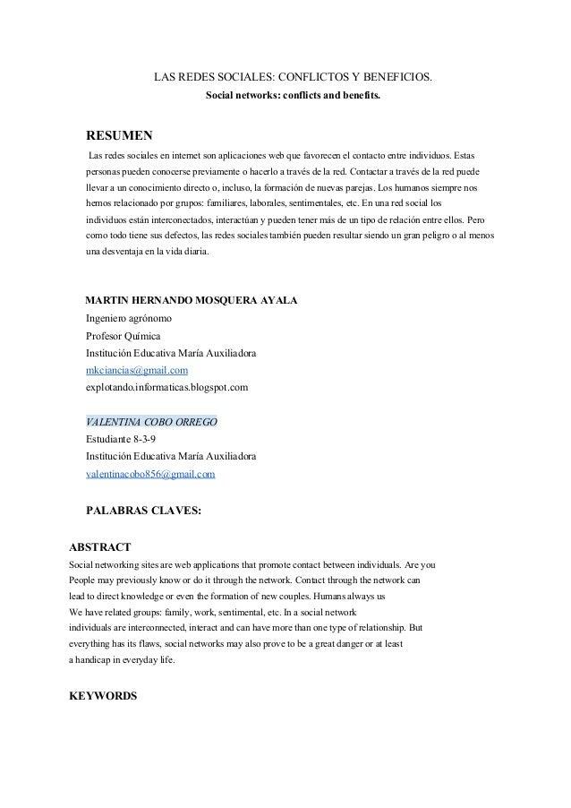 LASREDESSOCIALES:CONFLICTOSYBENEFICIOS. Socialnetworks:conflictsandbenefits.  RESUMEN Lasredessocialesen...
