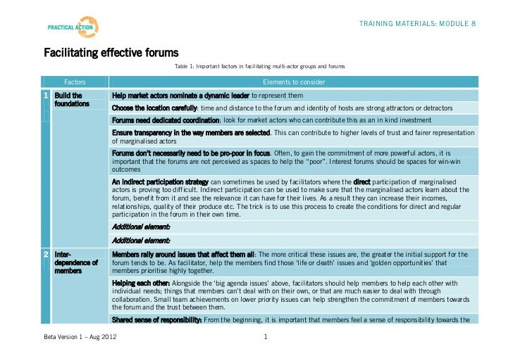 TRAINING MATERIALS: MODULE 8Facilitating effective forums                                             Table 1: Important f...