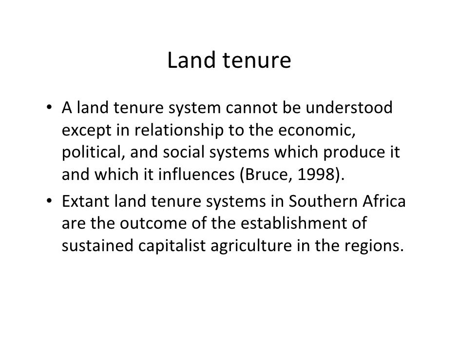 Land tenure in zimbabwe