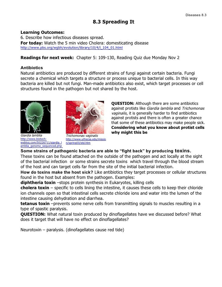 Diseases 8.3                                                     8.3 Spreading It  Learning Outcomes: 6. Describe how infe...