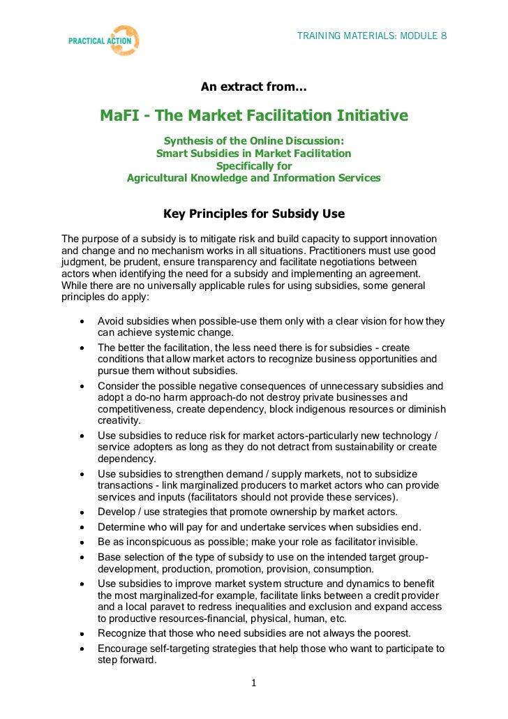 TRAINING MATERIALS: MODULE 8                               An extract from…        MaFI - The Market Facilitation Initiati...