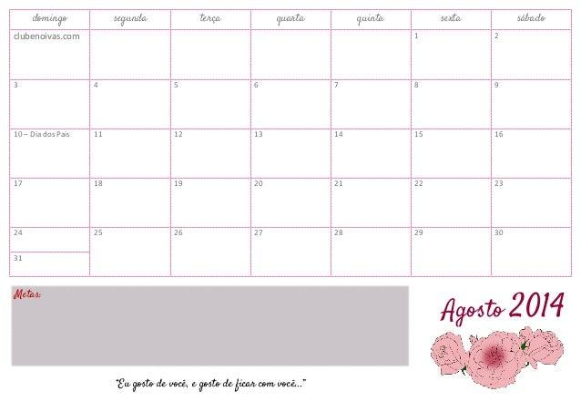 Calendário Agosto 2014 para Imprimir