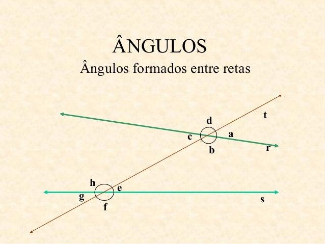 ÂNGULOS  t  r  s  Ângulos formados entre retas  a  g  f  e  c  d  b  h