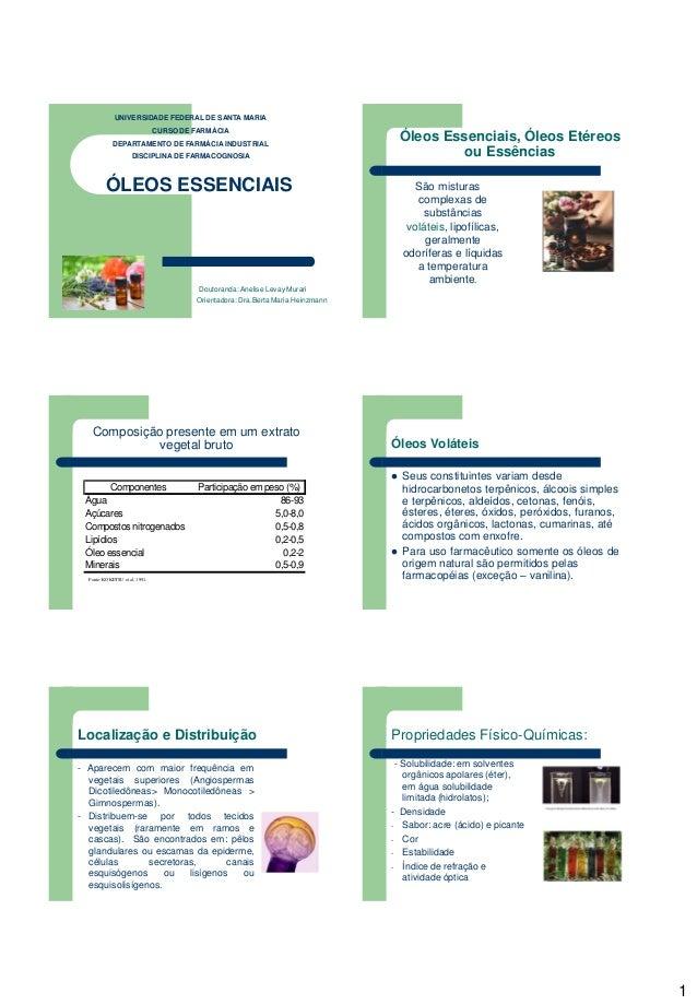 1 ÓLEOS ESSENCIAIS Doutoranda: Anelise Levay Murari Orientadora: Dra.Berta Maria Heinzmann UNIVERSIDADE FEDERAL DE SANTA M...