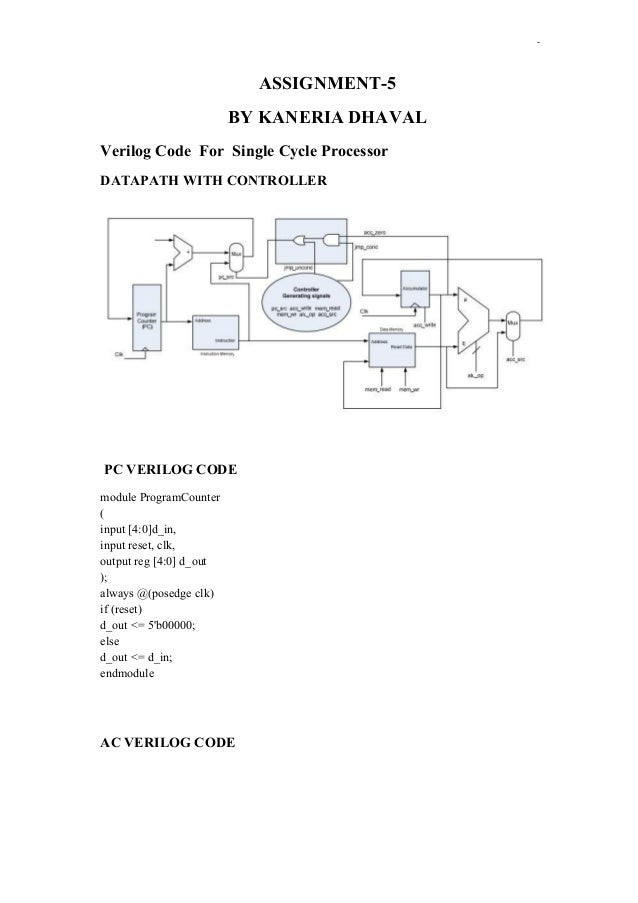 -  ASSIGNMENT-5 BY KANERIA DHAVAL Verilog Code For Single Cycle Processor DATAPATH WITH CONTROLLER  PC VERILOG CODE module...
