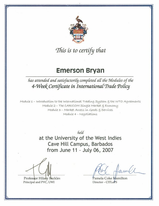 University Certificate: International Trade Policy