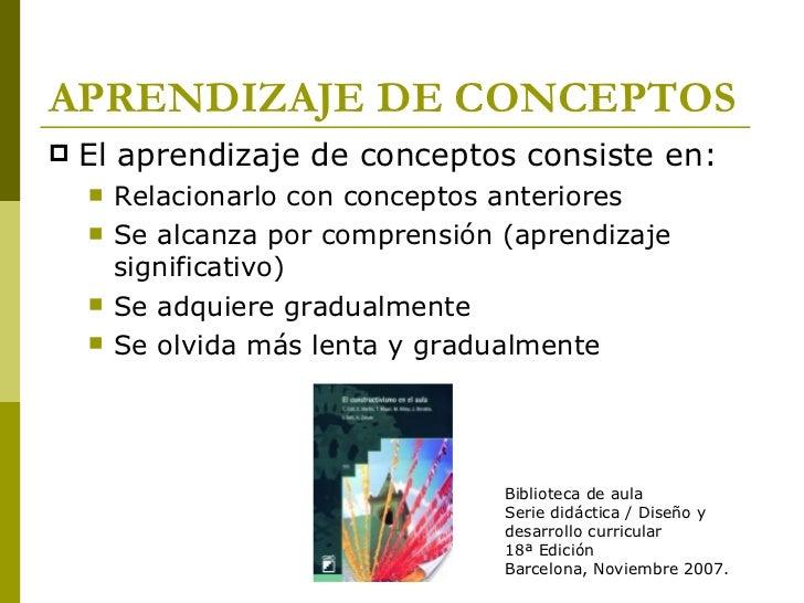 APRENDIZAJE DE CONCEPTOS <ul><li>El aprendizaje de conceptos consiste en: </li></ul><ul><ul><li>Relacionarlo con conceptos...