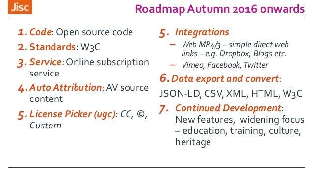 Roadmap Autumn 2016 onwards 1. Code: Open source code 2.Standards:W3C 3. Service: Online subscription service 4.Auto Attri...