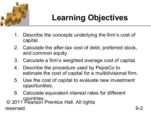 Pepsico inc cost of capital