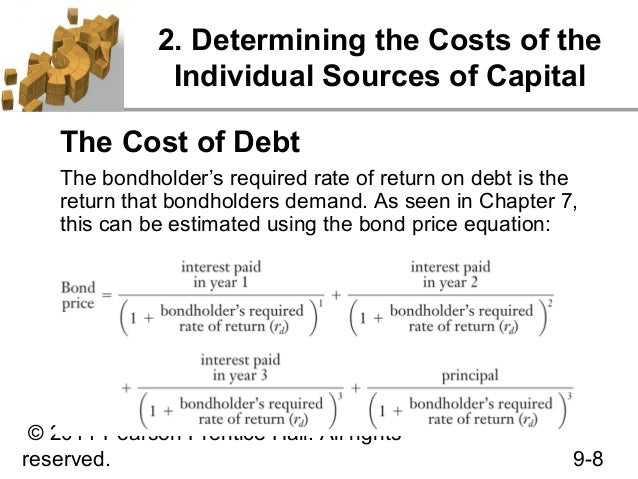 cost of debt Start studying financial policy ch 9 learn vocabulary, terms, and more with flashcards, games, and other study tools search create log in sign up the after-tax cost of debt that should be used as the component cost when calculating the wacc is the average after-tax cost of all the firm.