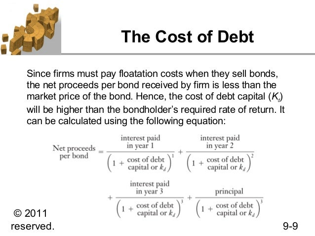 cost of debt Costs of debt vs equity as explained above, in order to calculate the cost of capital, one must calculate the cost of debt and the cost of equity.