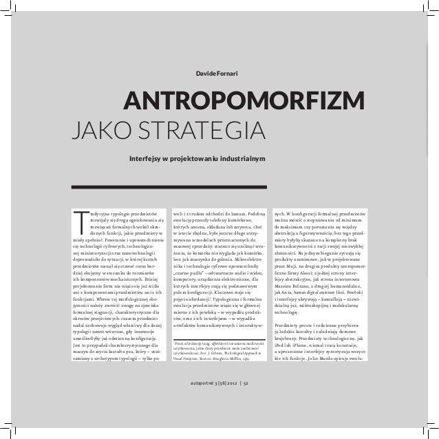 Davide Fornari    Antropomorfizmjako strategia                           Interfejsy w projektowaniu industrialnymT        ...