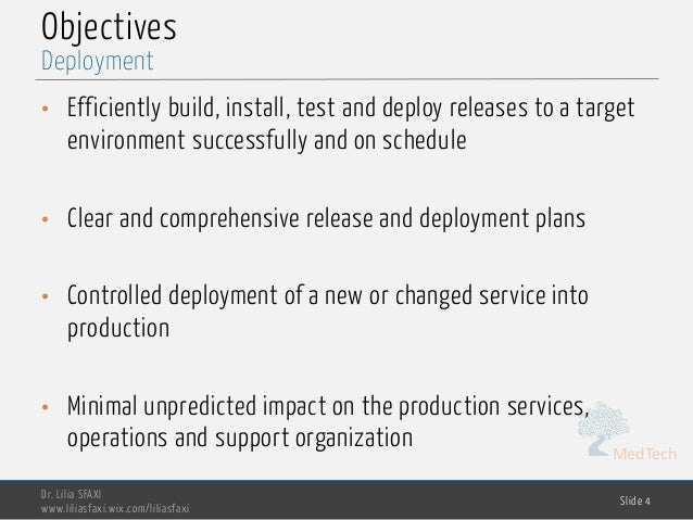 MedTech Objectives • Efficiently build, install, test and deploy releases to a target environment successfully and on sche...