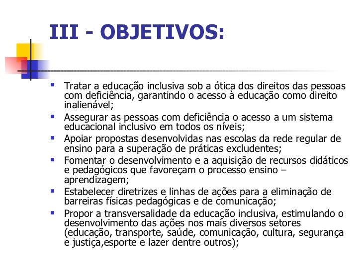 Educação inclusiva objetivos