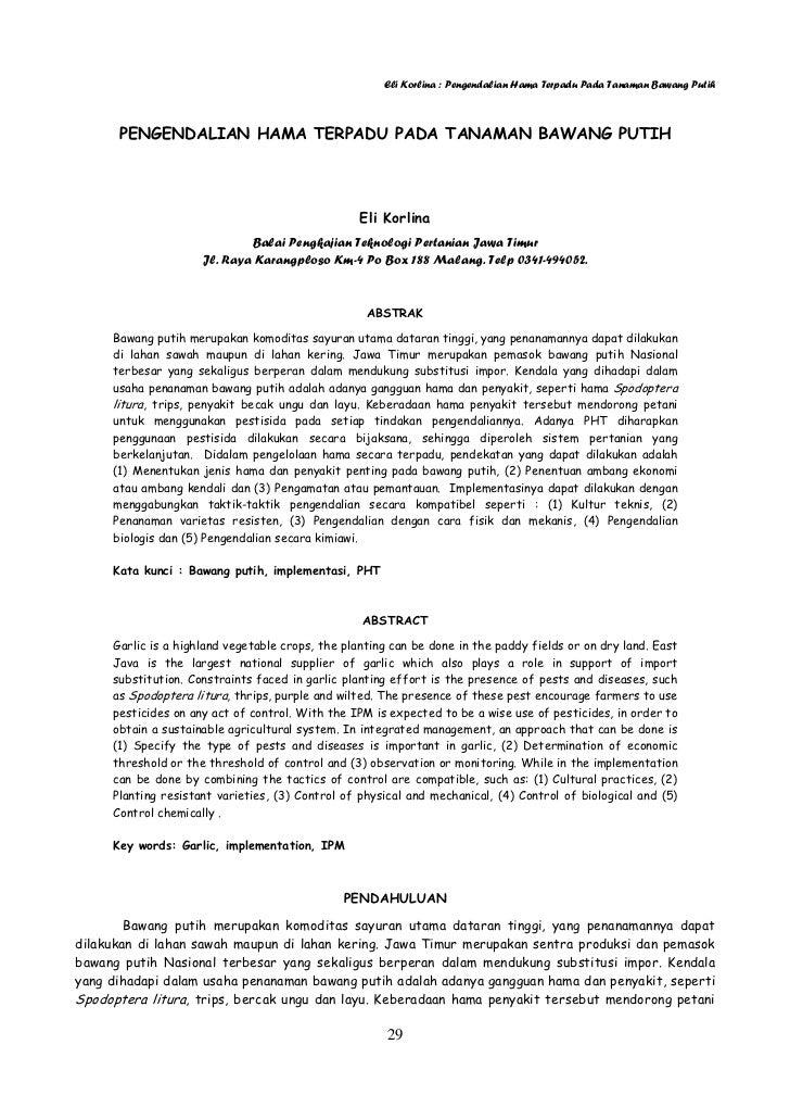 Eli Korlina : Pengendalian Hama Terpadu Pada Tanaman Bawang Putih      PENGENDALIAN HAMA TERPADU PADA TANAMAN BAWANG PUTIH...