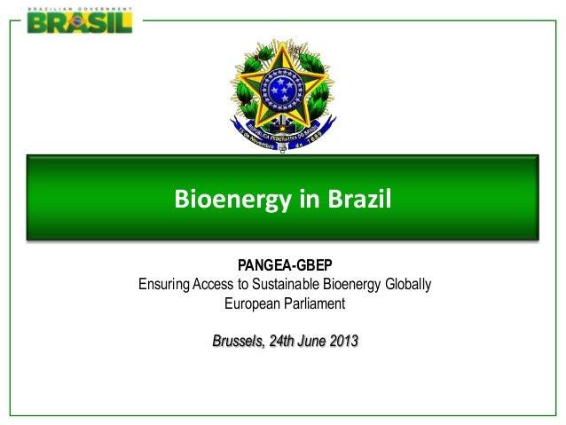 Ministério deMinas e EnergiaBioenergy in BrazilPANGEA-GBEPEnsuring Access to Sustainable Bioenergy GloballyEuropean Parlia...
