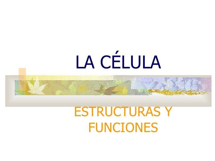 LA CÉLULA ESTRUCTURAS Y FUNCIONES